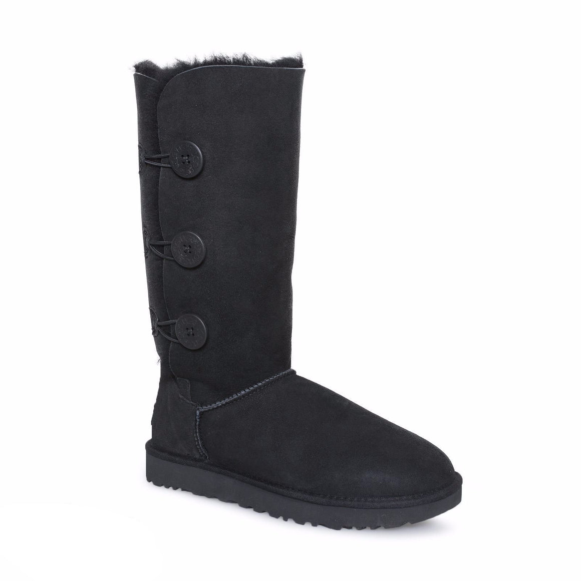 UGG Bailey Button Triplet II Black Boots - Kids