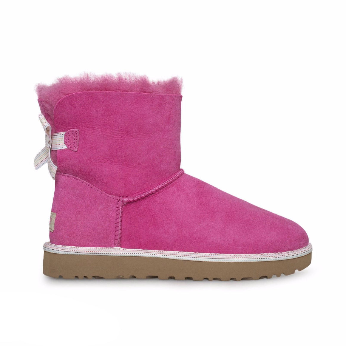 UGG Mini Bailey Bow Weave Pink Azalea Boots