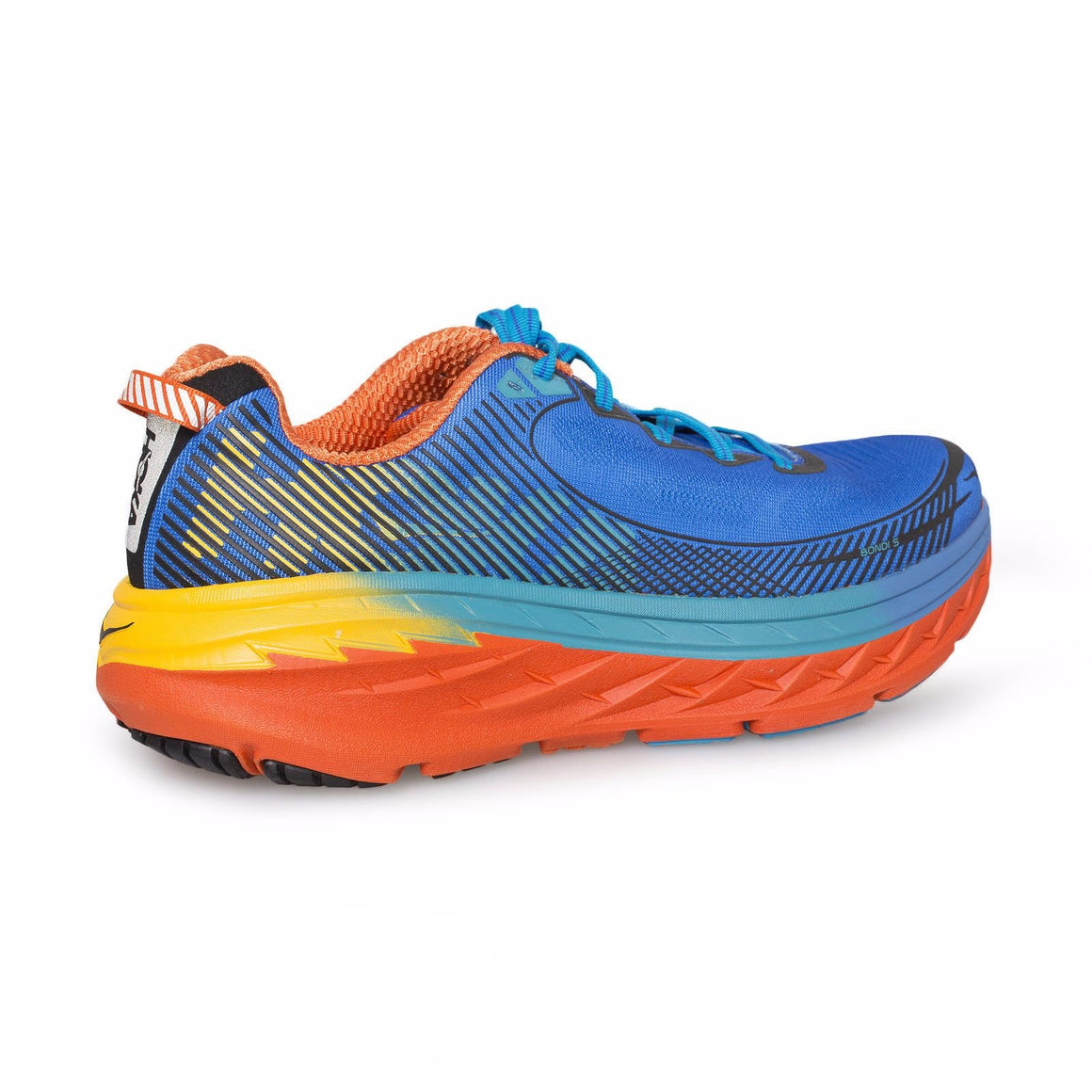 Hoka Bondi 5 Blue/Red Orange/Gold Fusion Running Shoes