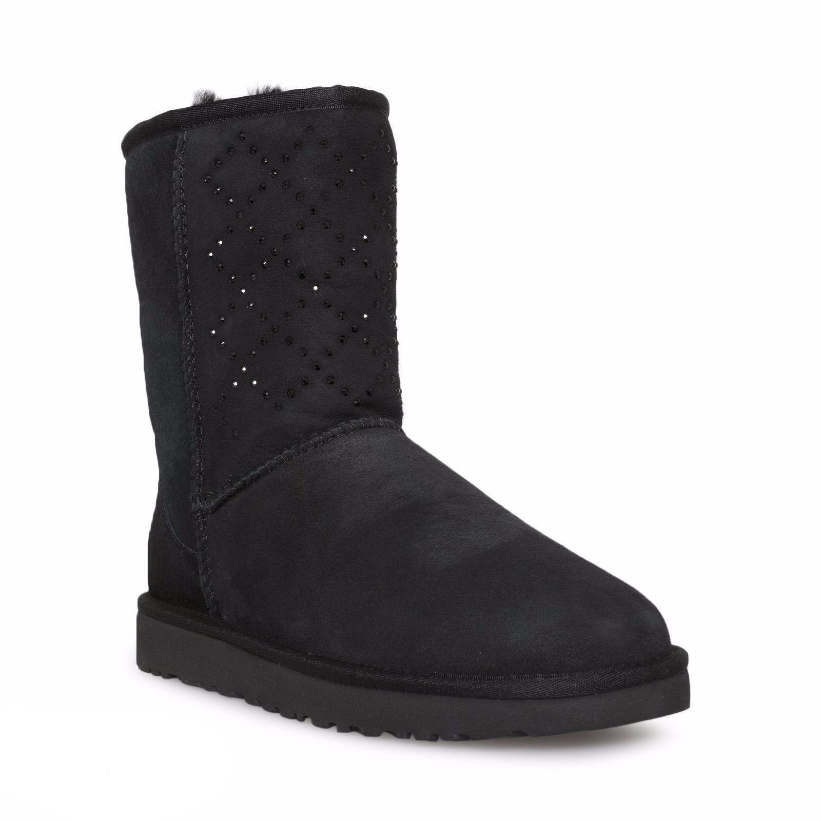 UGG Classic Short Crystal Diamond Black Boots