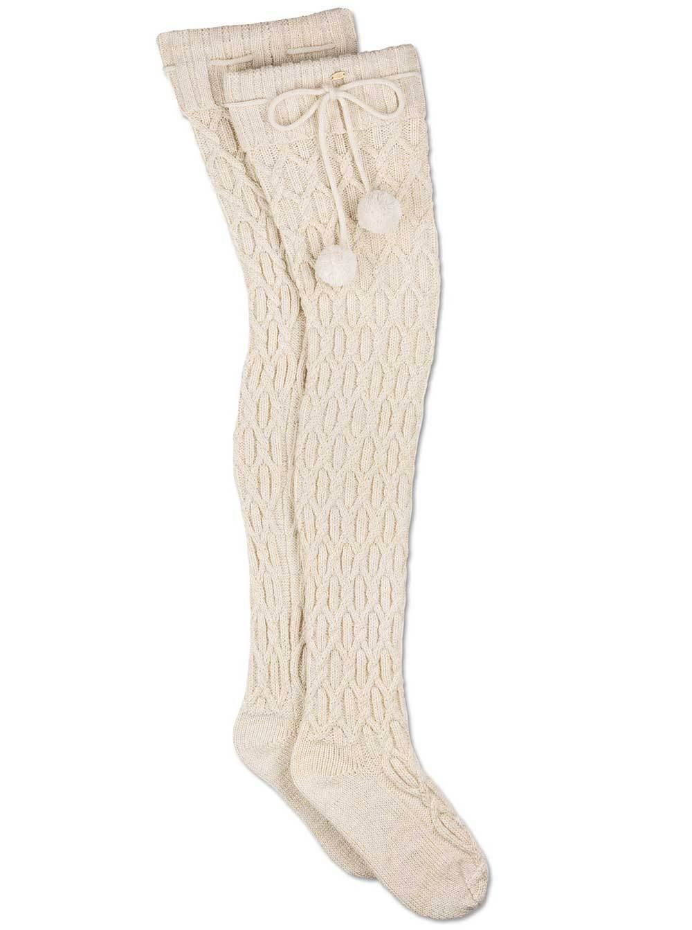 UGG Sparkle Cable Knit Cream with Gold Socks