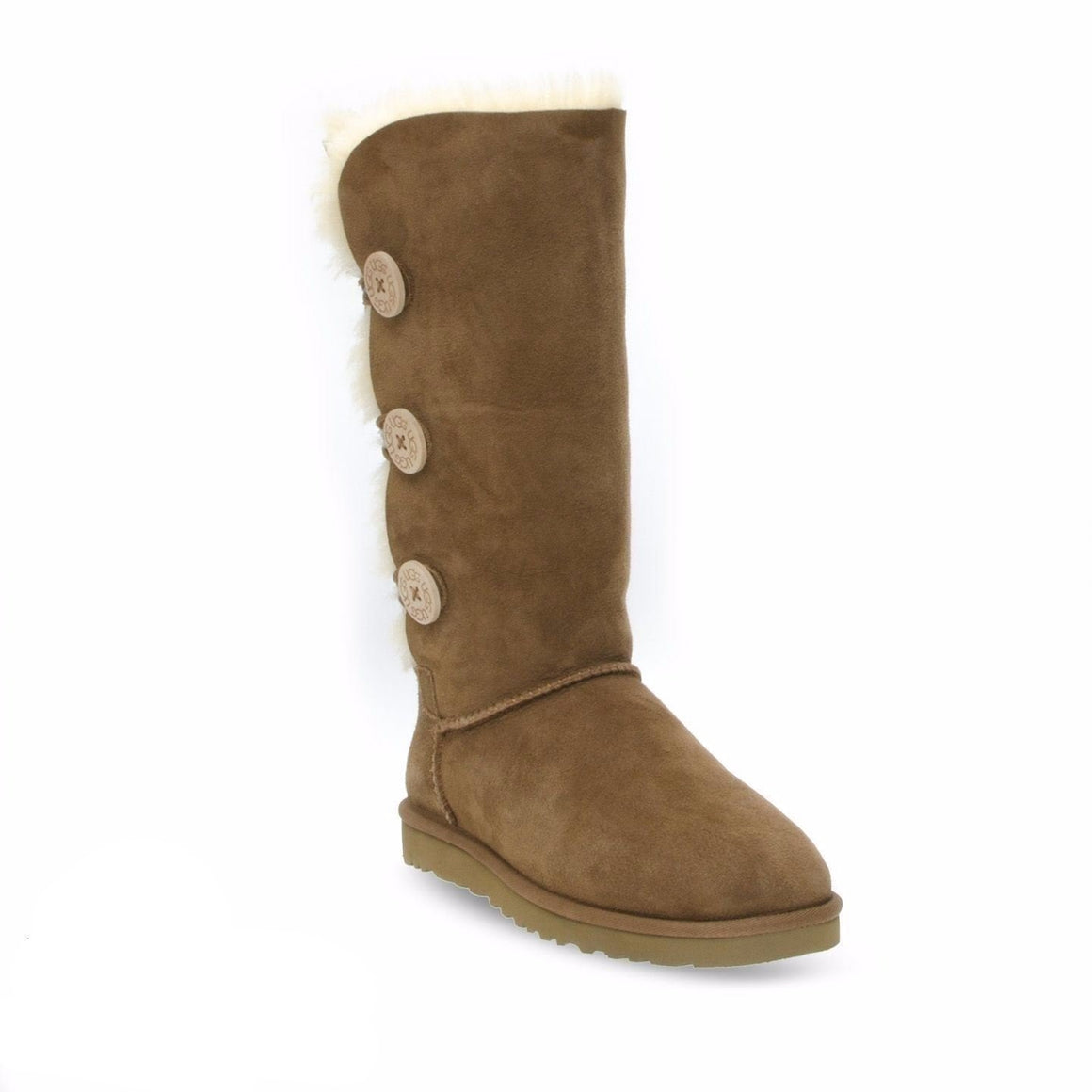 UGG Bailey Button Triplet II Chestnut Boots - Youth