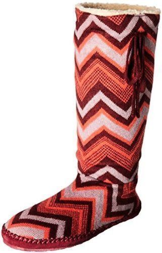 Sanuk Snuggle Up Burgundy / Multi Chevron Boots