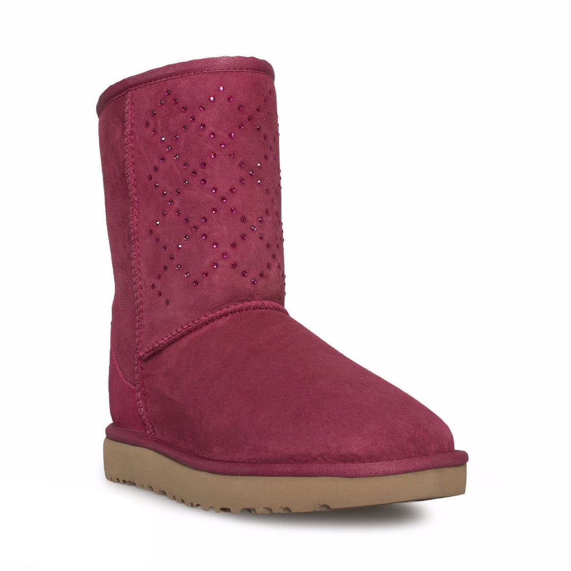 UGG Classic Short Crystal Diamond Oxblood Boots