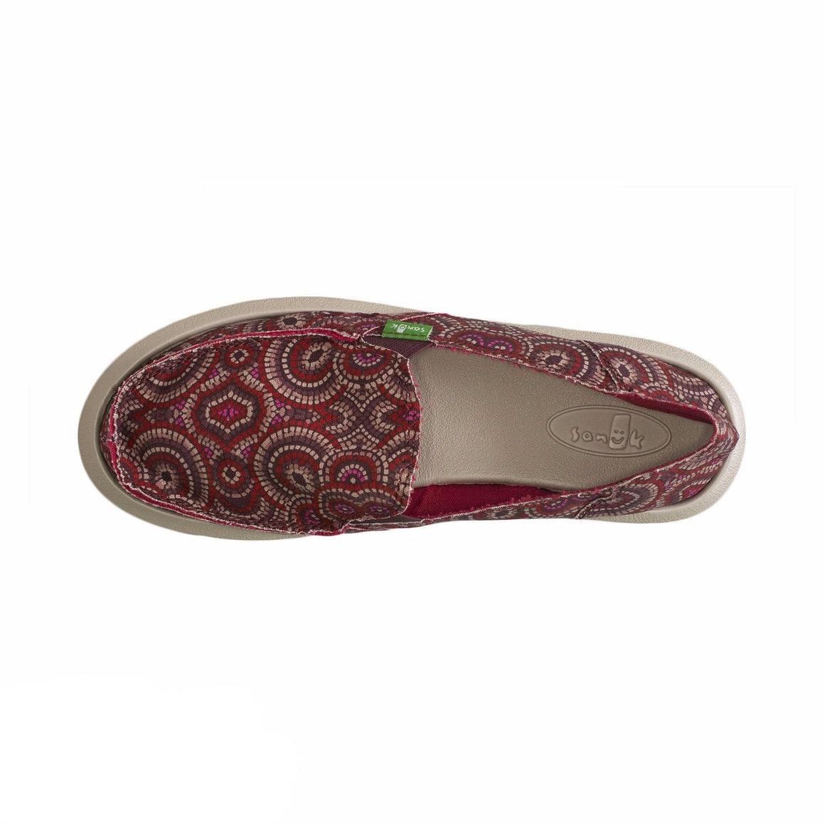 Sanuk Donna Burgundy Multi Radio Love Shoes