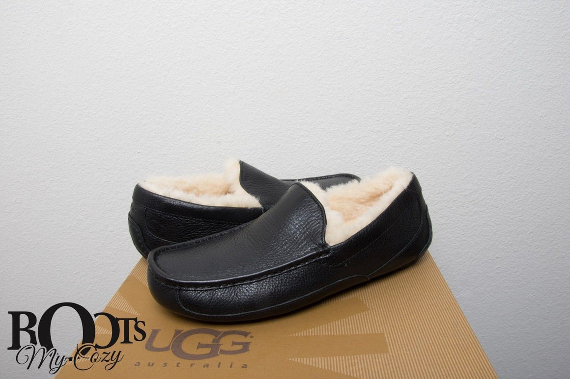 UGG Ascot Leather Black Slippers
