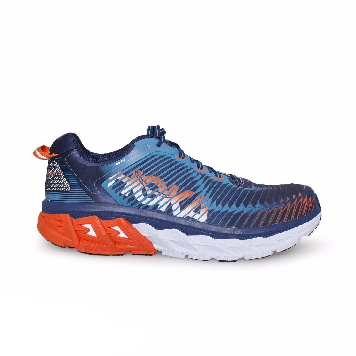 Hoka Arahi Medieval Blue/Red Orange Running Shoes