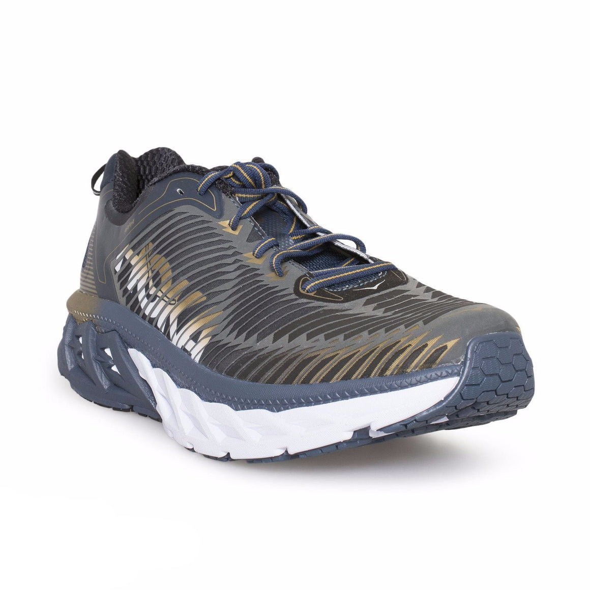 Hoka Arahi Midnight Navy Metallic Gold Shoes
