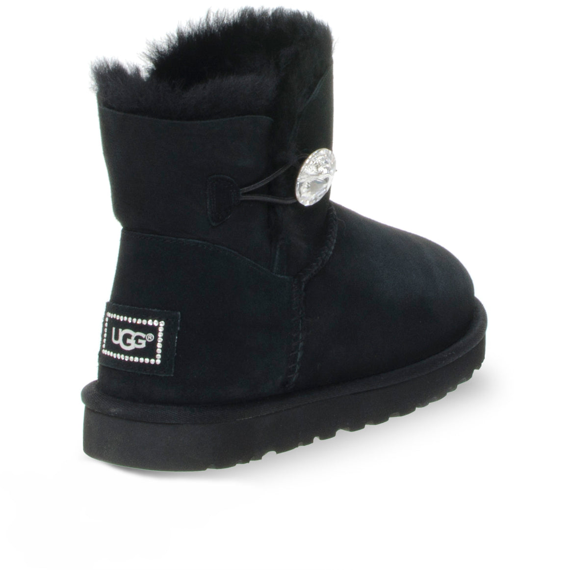 UGG Mini Bailey Button Bling Black Boots - Women's
