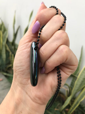 Gorg! Rare Black Aura Quartz Oval Pendant with 30 inch adjustable stainless steel black ball chain - TheCrystalFairy
