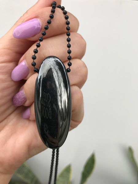 Gorg! Rare Black Aura Quartz Oval Pendant with 30 inch adjustable stainless steel black ball chain