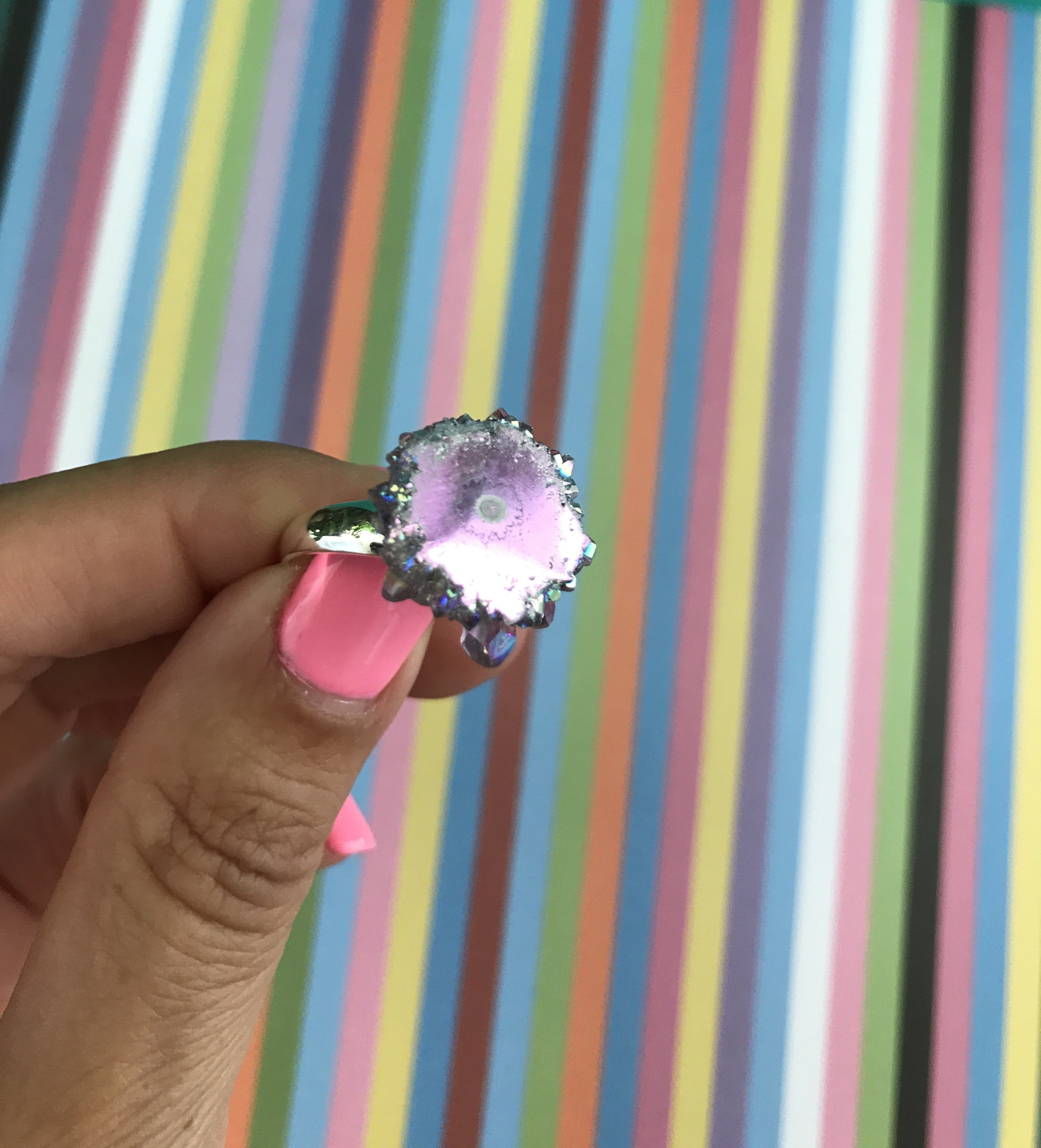 Angel Aura Amethyst stalactite Sterling Silver Ring size 7 -10 #6 - TheCrystalFairy