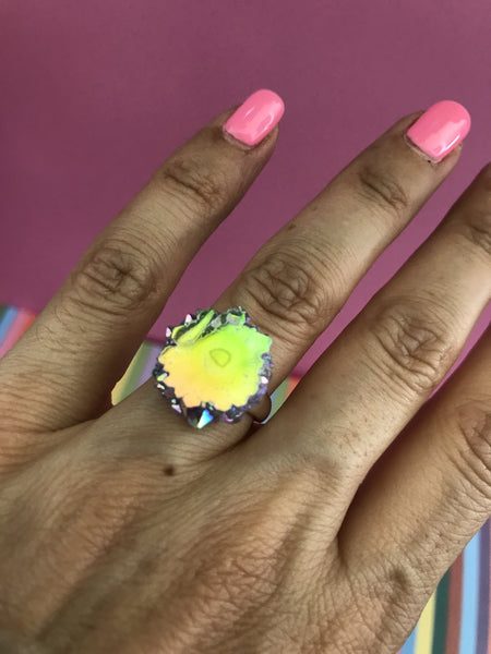 Angel Aura Amethyst stalactite Sterling Silver Ring size 5 -7.5 #8 - TheCrystalFairy