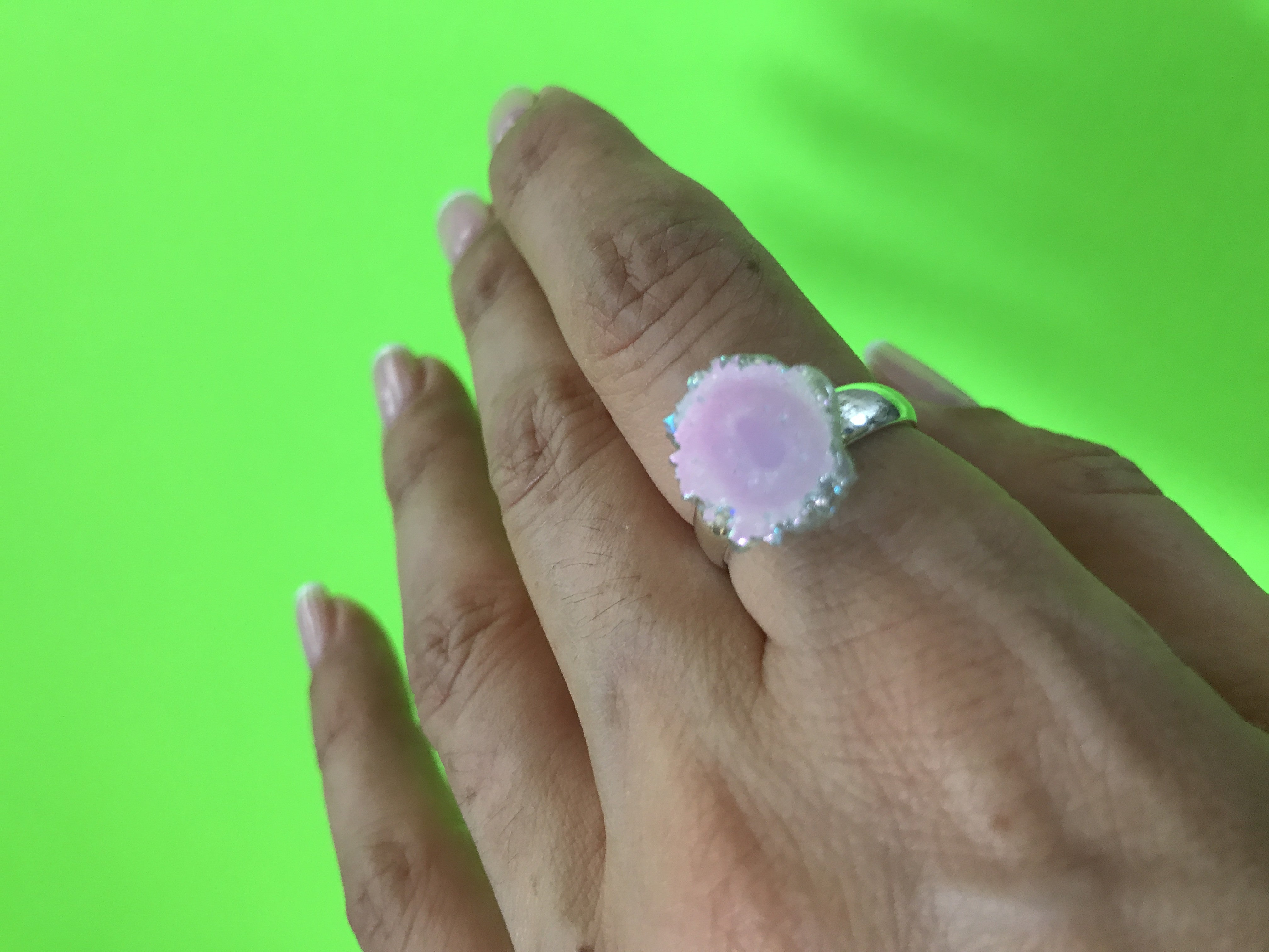 Angel Aura Amethyst stalactite Sterling Silver Ring size 6 -8.5 #9 - TheCrystalFairy