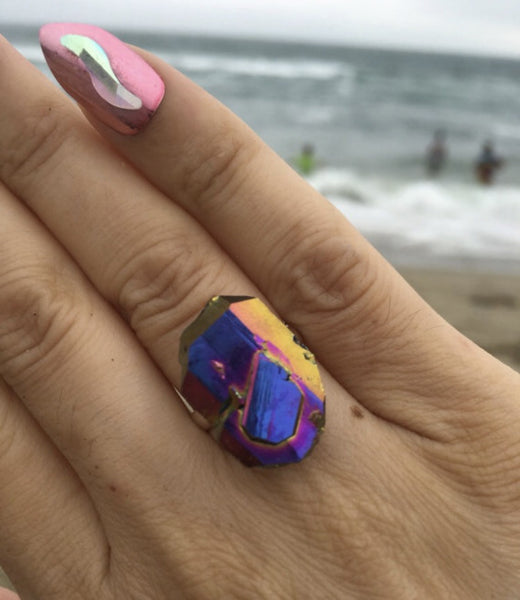 Faden Rainbow Aura Quartz Sterling silver ring size 6