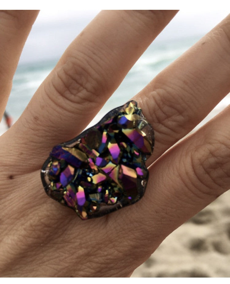 Rainbow Aura Quartz Sterling Silver Ring Size 7, 7.5 or 8 - TheCrystalFairy