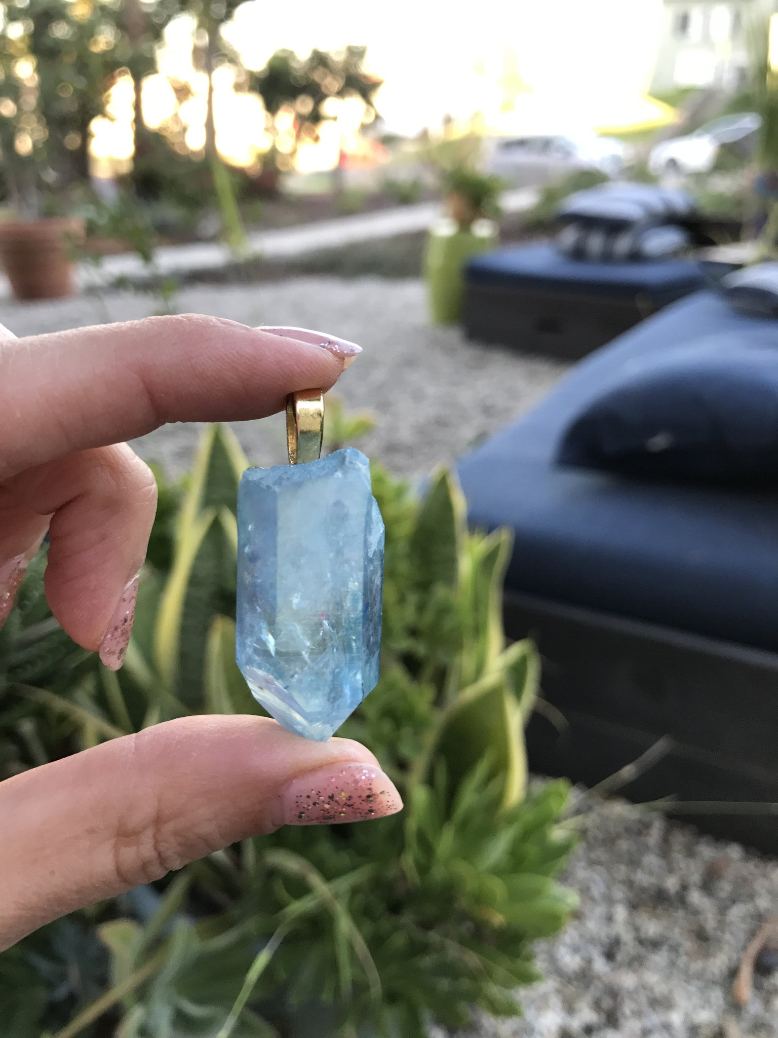 High-quality Aqua Aura quartz point gold pendant N108 - TheCrystalFairy