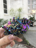 Large and Beautiful rainbow aura quartz self standing castle cluster N603 - TheCrystalFairy