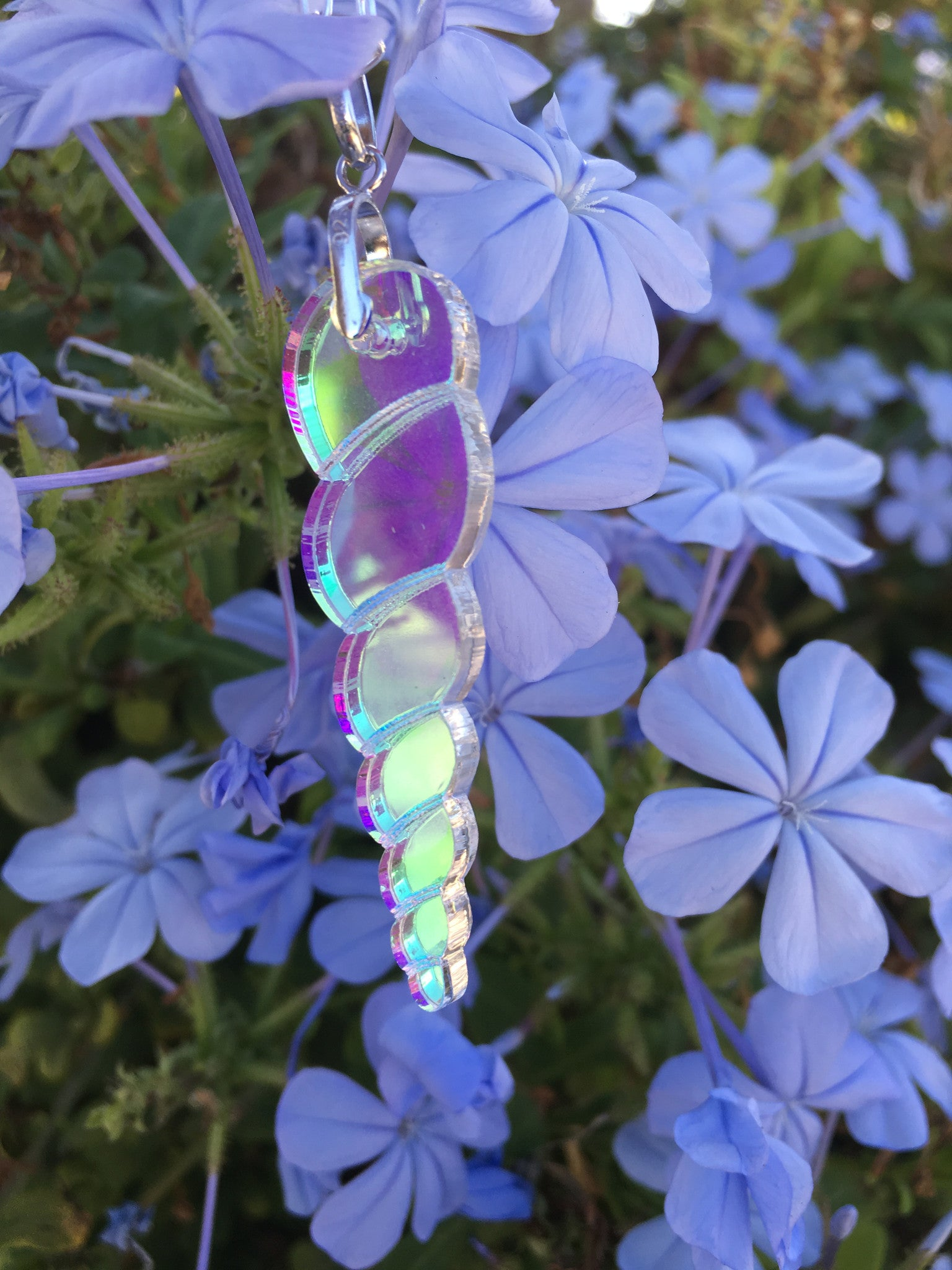 Large Holographic Unicorn Horn Necklace Sterling Silver - TheCrystalFairy
