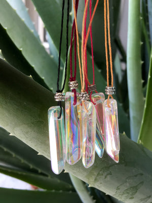 AAA Grade Angel Aura Quartz Mini Hemp Cord Necklace with Cute Bead - TheCrystalFairy
