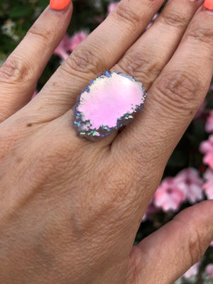 Angel Aura Amethyst stalactite Sterling Silver Ring size 6.5, 7, 7.5 - TheCrystalFairy