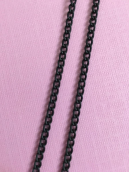 Small sized Round Oval Black Chain - TheCrystalFairy