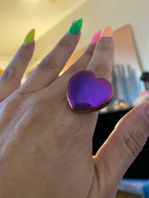 Grape Aura Sterling Silver Heart Shaped Ring size 9.5