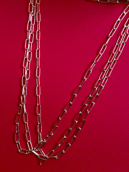 Dainty Thin Sterling Silver Oval Rectangle Chain - TheCrystalFairy