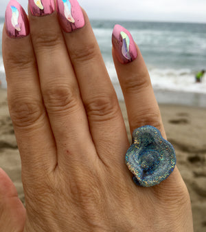 Chalcedony Angel Aura Quartz Cluster Sterling silver ring size 5 - TheCrystalFairy