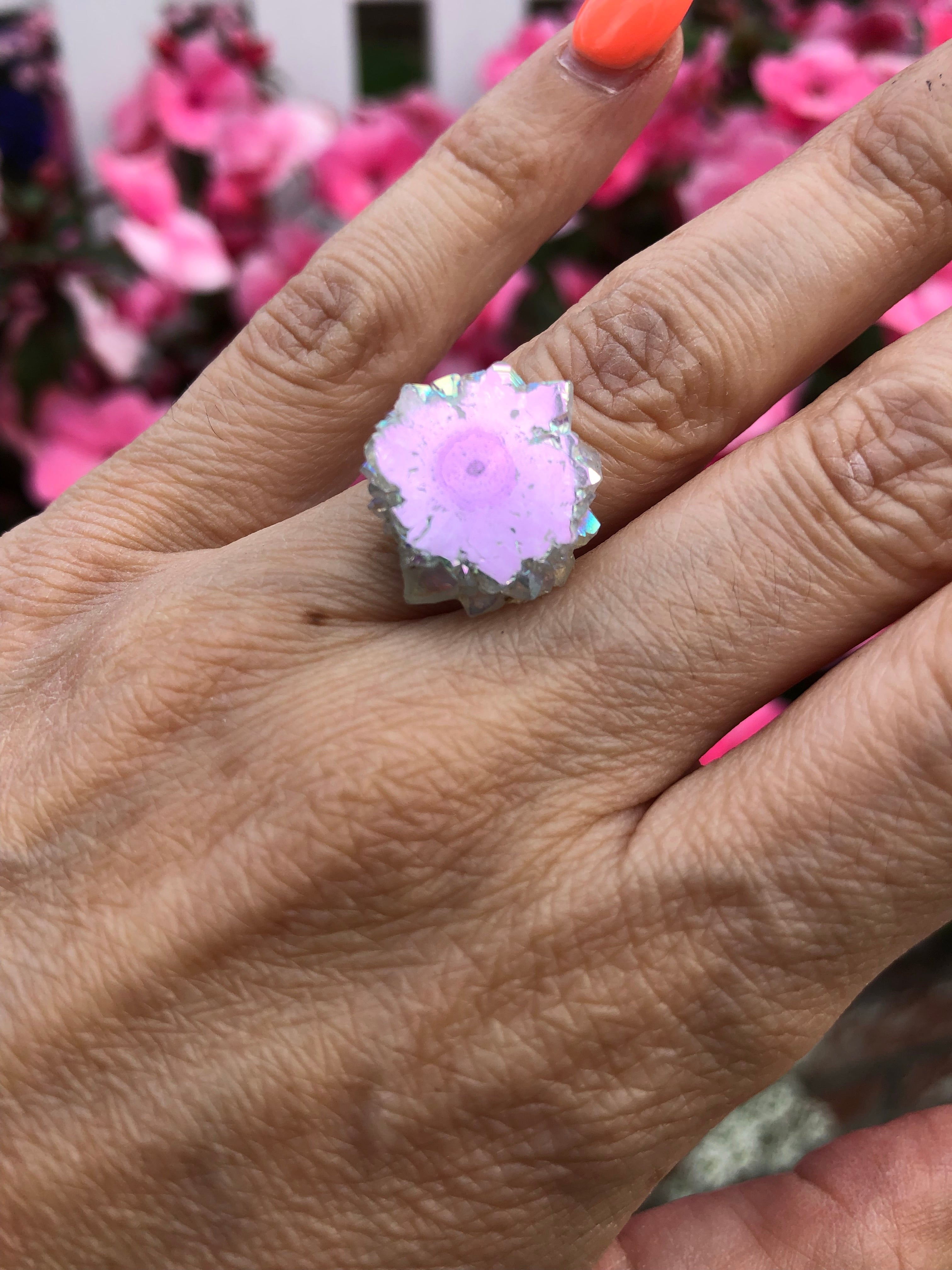 Angel Aura Amethyst stalactite Sterling Silver Ring size 5- 8 - TheCrystalFairy