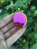 Sunset aura palm stone gold pendant 4 - TheCrystalFairy