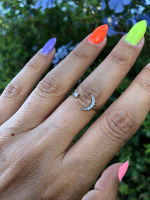 24K white gold dipped moon and star ring - TheCrystalFairy