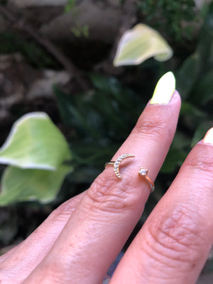 14K gold dipped moon and star ring - TheCrystalFairy