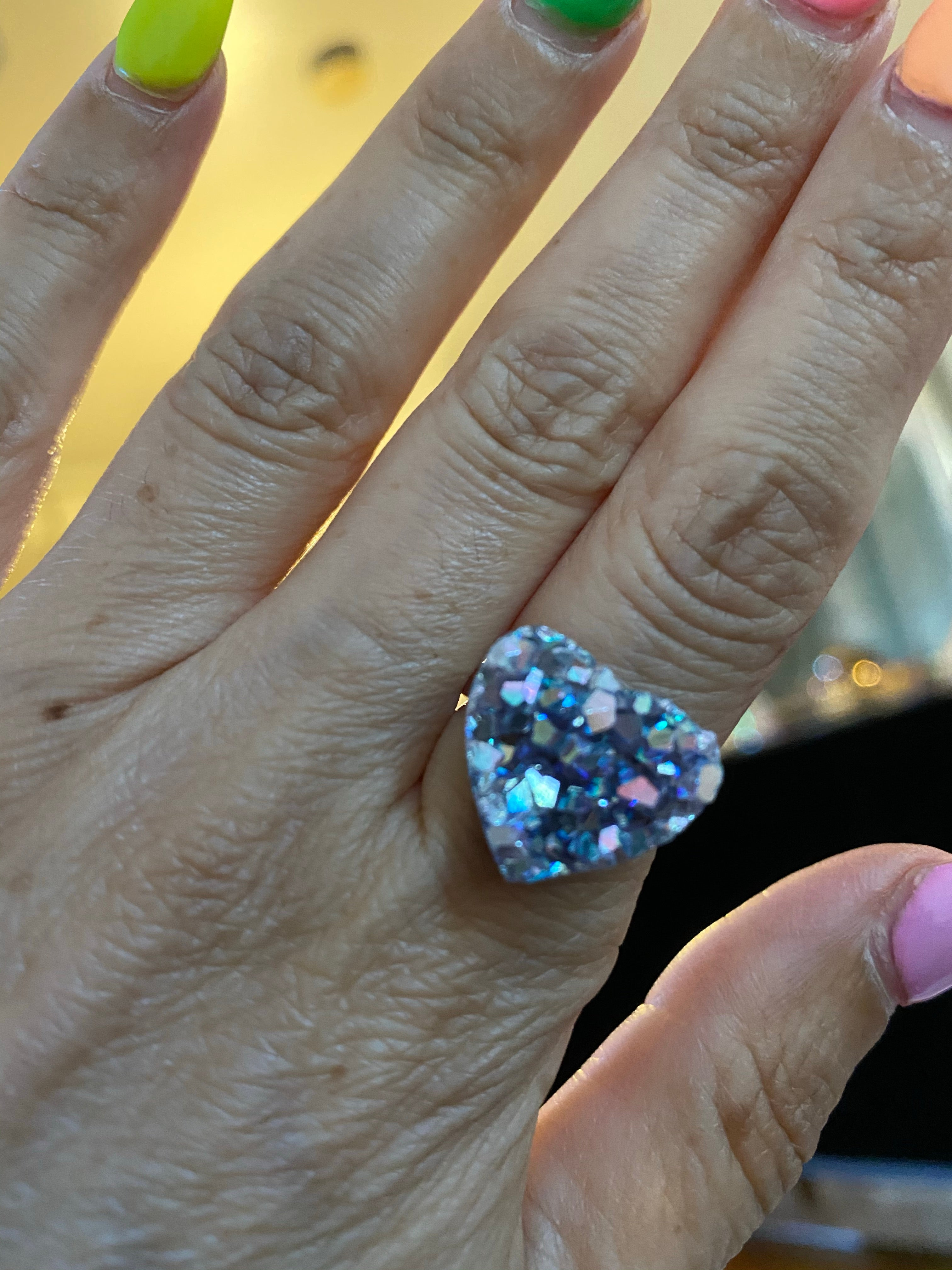 Amethyst Heart Angel Aura Quartz Sterling Ring Size 6.5-7.5