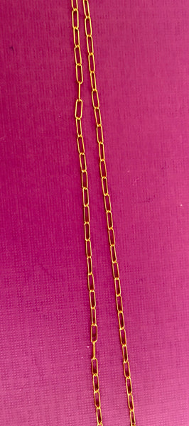 Dainty Thin 14K Gold Filled Oval Rectangle Chain - TheCrystalFairy