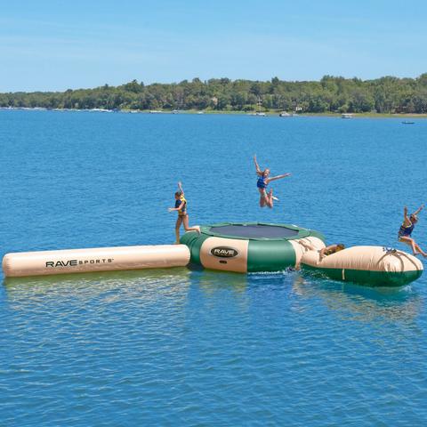Aqua Jump 150 w/Launch and Log Northwoods Water Trampoline by Rave Sports Image 1 | The Trampoline Shop