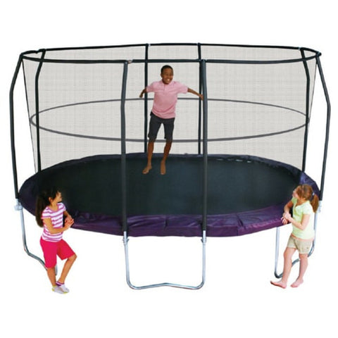 Bazoongi Jump Pod 8 x 14 FT Oval Trampoline with Safety Enclosure Net 3 | The Trampoline Shop