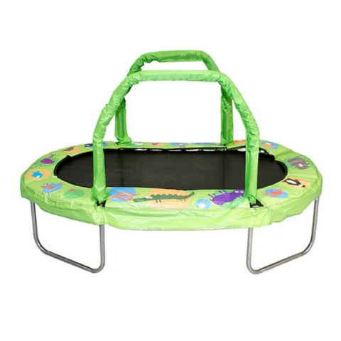 "Jumpking Mini Trampoline for Kids Oval 38""x 66"" with Pad Handles - Green 