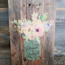 BLESSED & GRATEFUL WOOD SIGN