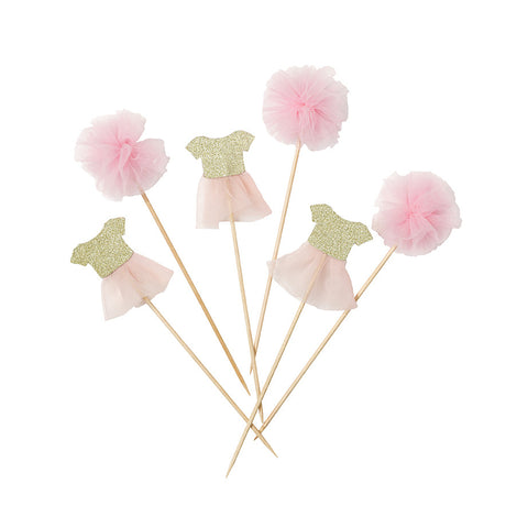 Pink Tutu and Pom Pom Cake Toppers - Talking Tables - 3