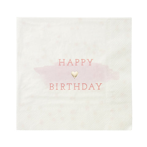 Pink Happy Birthday Napkins - Talking Tables - 1