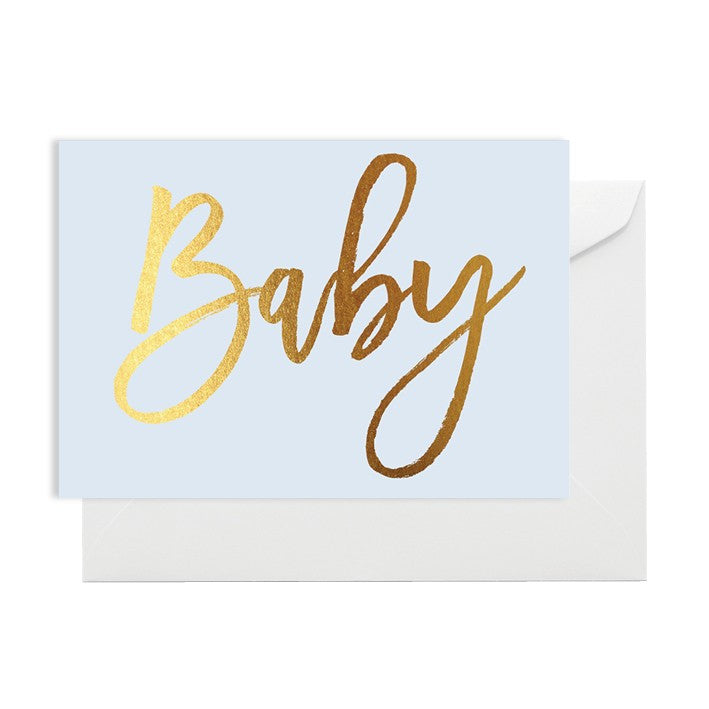 Baby Blue Card with Gold Foil - Lemonade Occasions