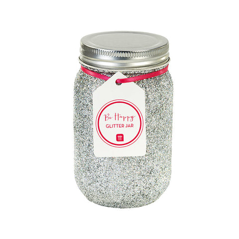 Be Happy Silver Glitter Jar - Lemonade Occasions