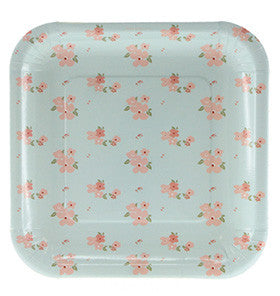 Blue Floral Square Plate - Lemonade Occasions
