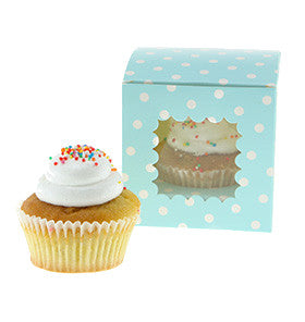 Blue Polkadot Individual Cupcake Boxes (Pack of 6) - Lemonade Occasions