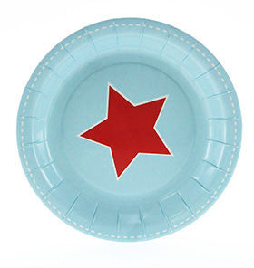 Blue with Red Star Small Party Plate - Lemonade Occasions