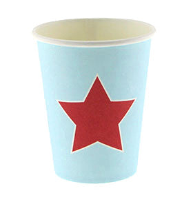 Blue with Red Star Party Cups - Lemonade Occasions