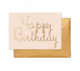 Blush Gold Happy Birthday Card - Lemonade Occasions