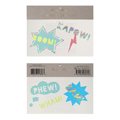 Boom Kapow Temporary Tattoos- Meri Meri - Lemonade Occasions