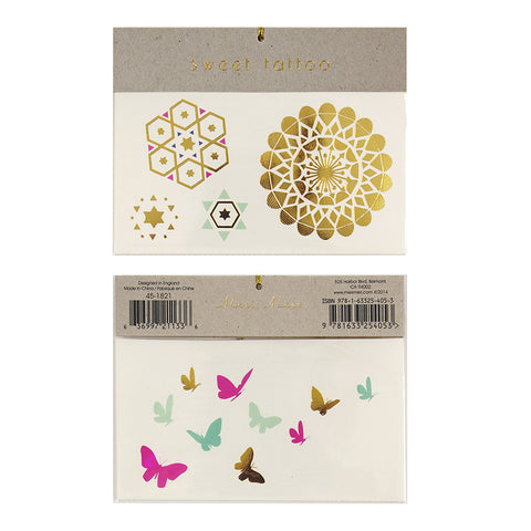 Butterfies and Patterns Temporary Tattoos